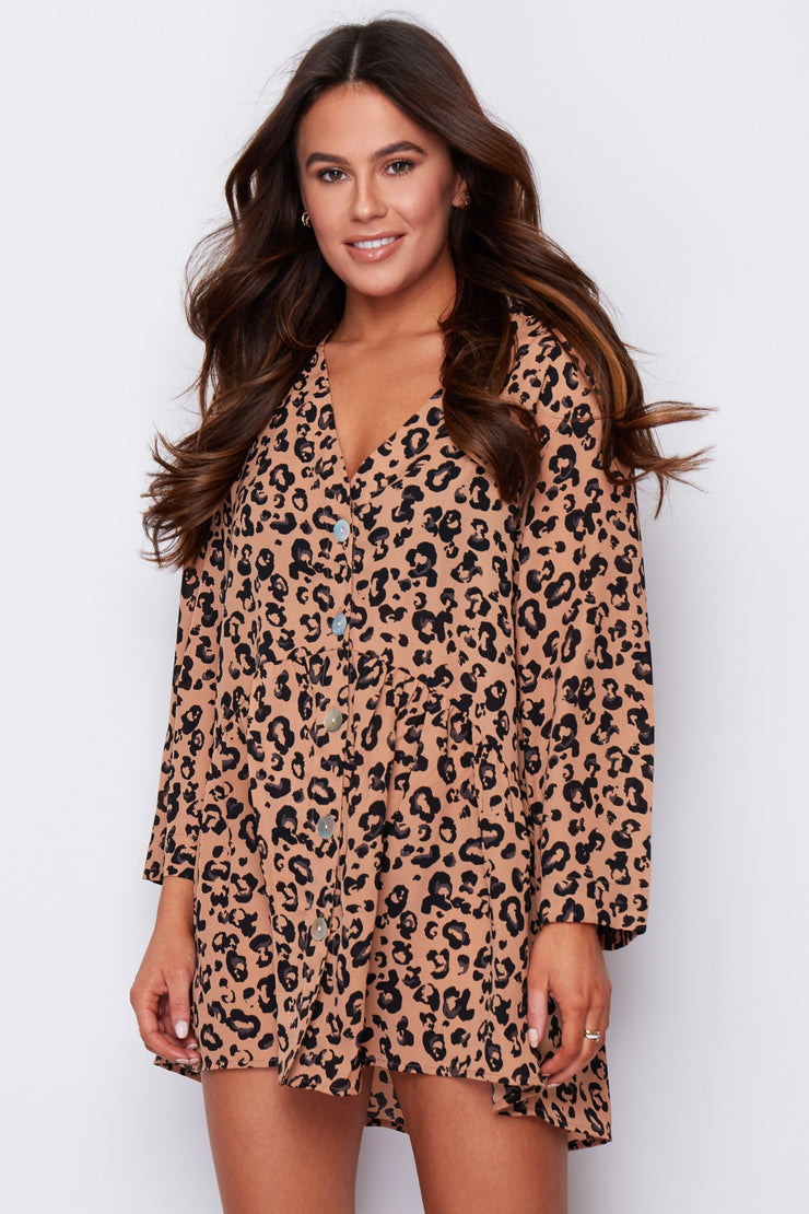 Maggie Animal Loose Fit Button Tunic Dress