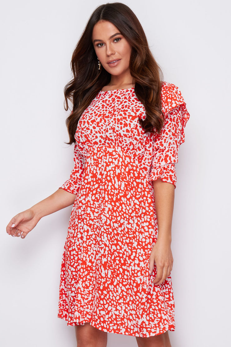 Terri Red Two Tone Frill Sleeve Detail Dress