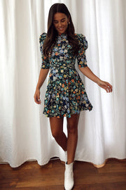 Polly Navy Floral Puff Sleeve Skater Dress