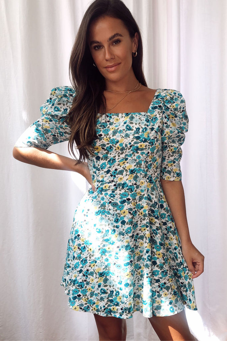 Sadie Blue Floral Puff Sleeve Square Neck Dress