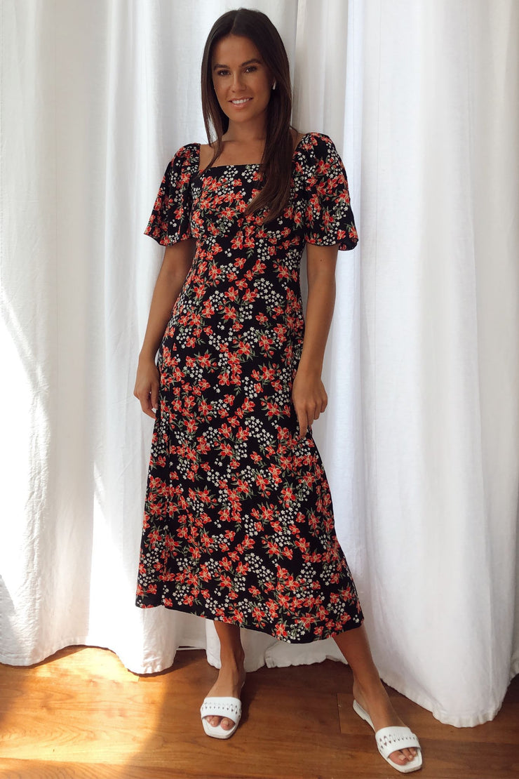 Amy Red Floral Print Angel Sleeve Midi Dress