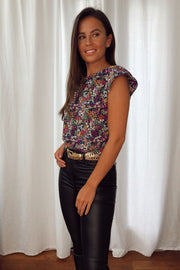 Stella Purple Ditsy Floral Shoulder Pad Top