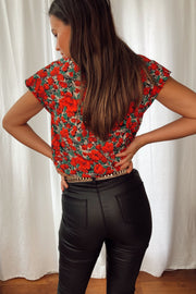 Stella Red Floral Shoulder Pad Top