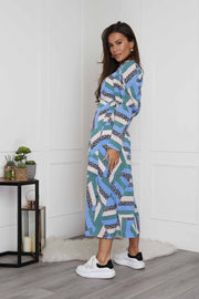 Sienna Blue Patchwork Puff Sleeve Midi Dress