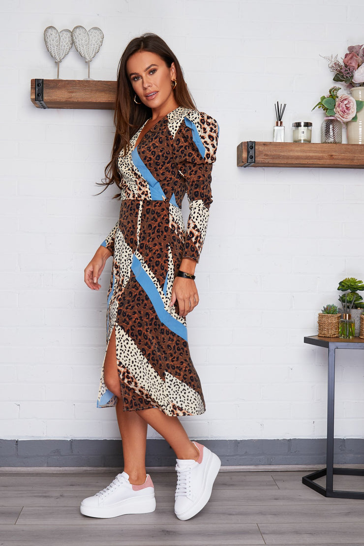 Mollie Animal Print Puff Sleeve Midi Dress