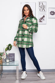 Ruby Emerald Green Brushed Checked Shacket