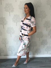 Sally Pink Floral Print Culotte Jumpsuit with Pockets