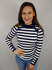 Sami Navy And White Stripe Button Detail Jumper