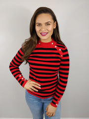Sami Red And Black Stripe Button Detail Jumper