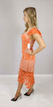 Sasha Orange Contrast Nude Crochet Lace Midaxi Dress