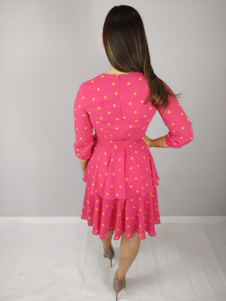 Saskia Cerise Pink Polka Dot Frilled Midi Dress