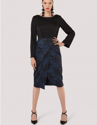 Lorraine Black Floral Draped Wrap Dress
