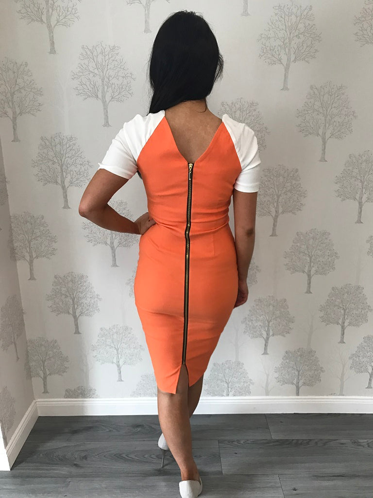Selene Tangerine Colour Block Pencil Dress