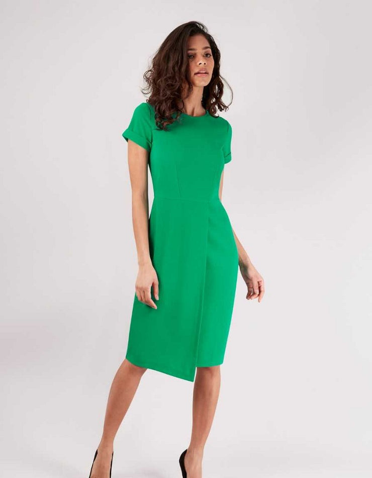Shannon Green Asymmetric Hem Wrap Skirt Dress