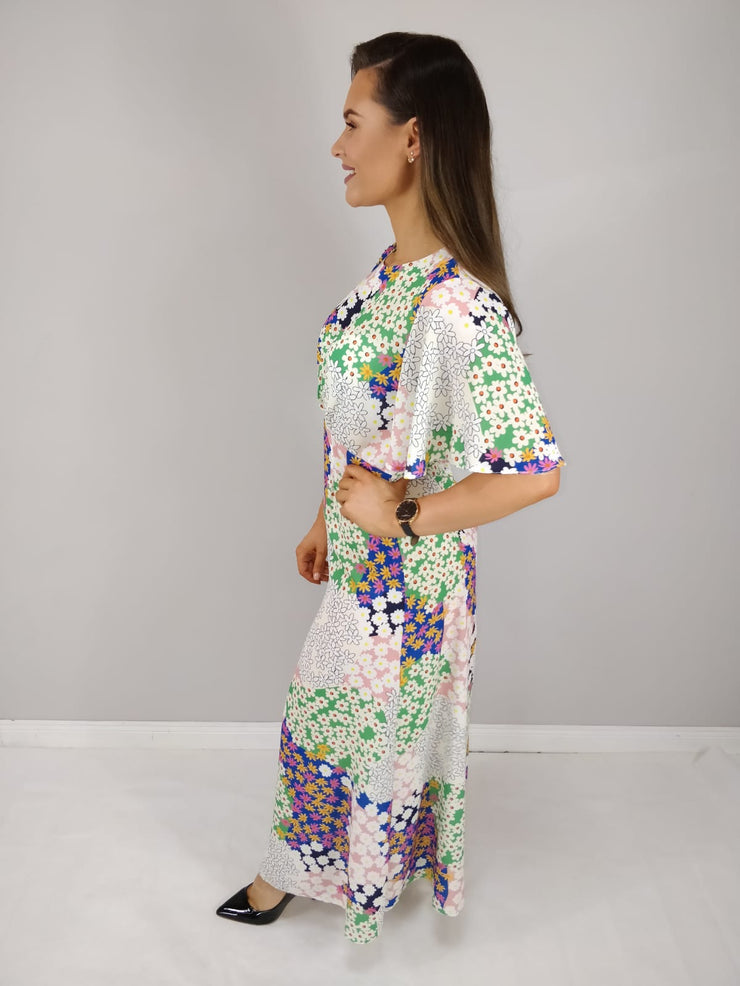 Shannon Ivory Multi Floral Patch Work Maxi Dress