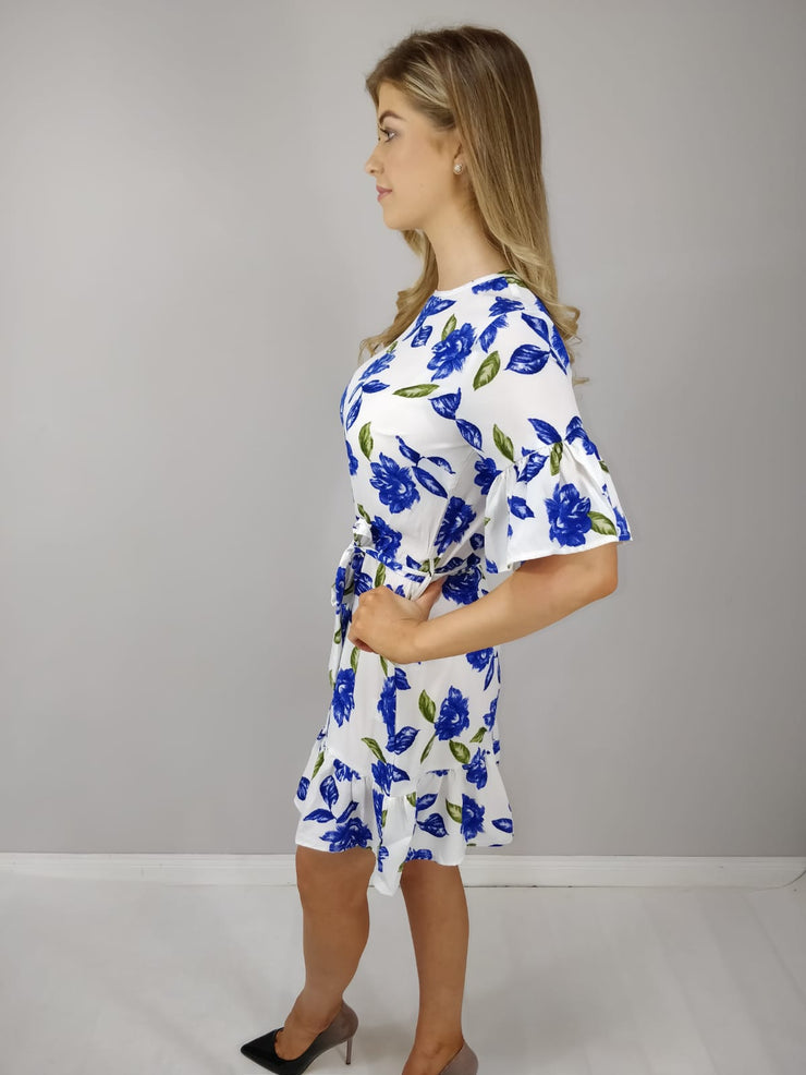 Sofia Blue Floral Ruffle Hem Waist Tie Dress