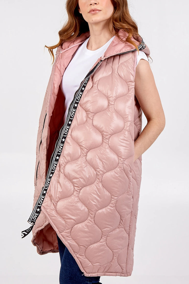 Sophia Dusty Pink LOVE Puffer Gilet