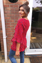Robyn Red Floral Wrap Over Style Top