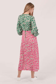 Molly Pink & Green Floral A Line Midi Dress