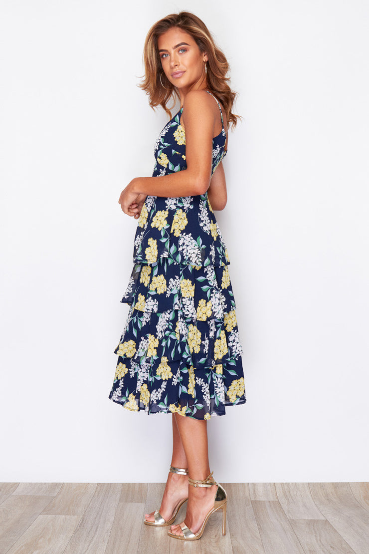 Tamara Navy Floral Layered Ruffle Midi Dress