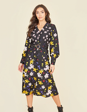 Lydia Multi Floral Button Front Belted Midi Dress