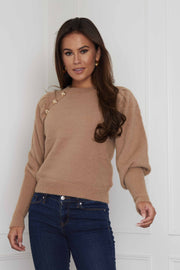 Willow Camel Fluffy Button Jumper