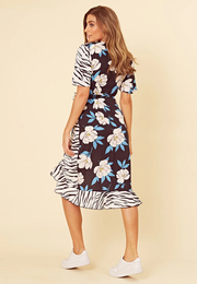 Vivan Floral And Zebra Print Wrap Frill Hem Midi dress