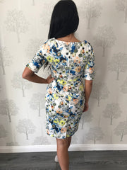 Winnie White Floral Short Sleeve Ruched Dress