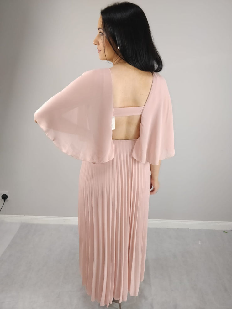 Yasmin Soft Pink Angel Sleeve Pleated Skirt Dress