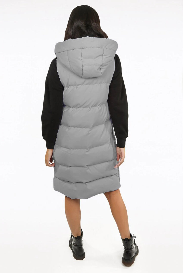 Susie Grey Hooded Puffer Midi Length Gilet