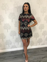 Zena Black Multi Sequin Aztec Shift Dress