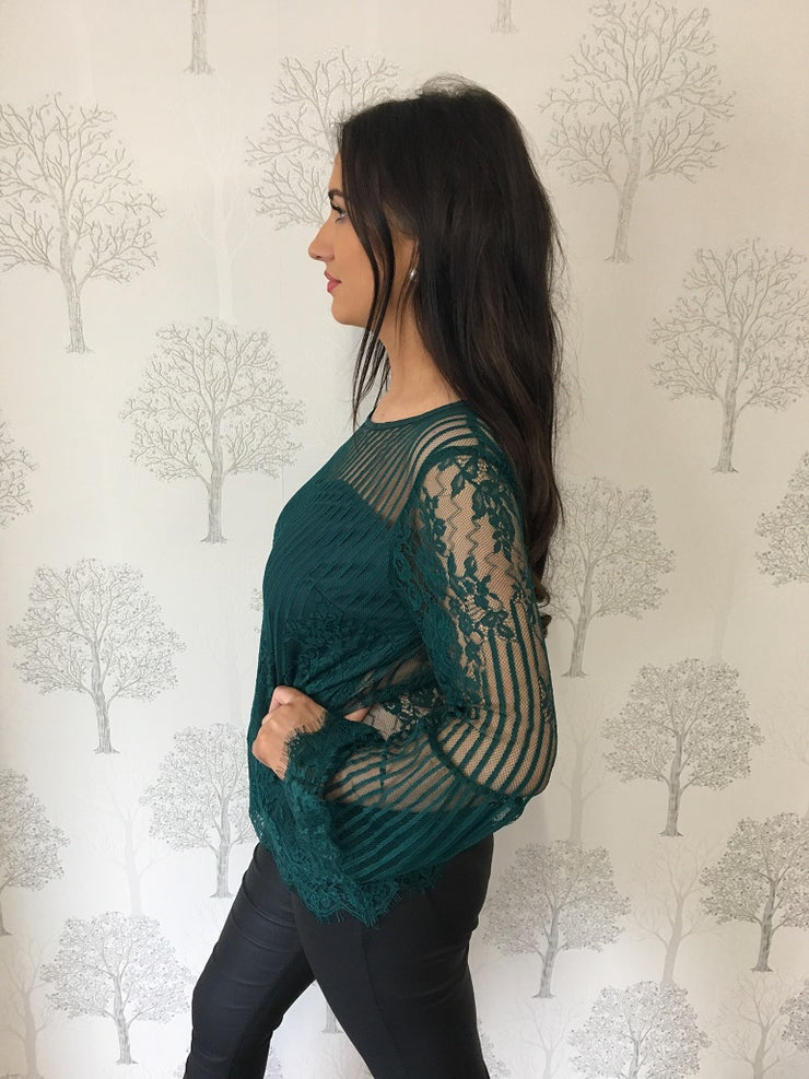 Zoe Teal Lace Blouse With Flared Sleeves