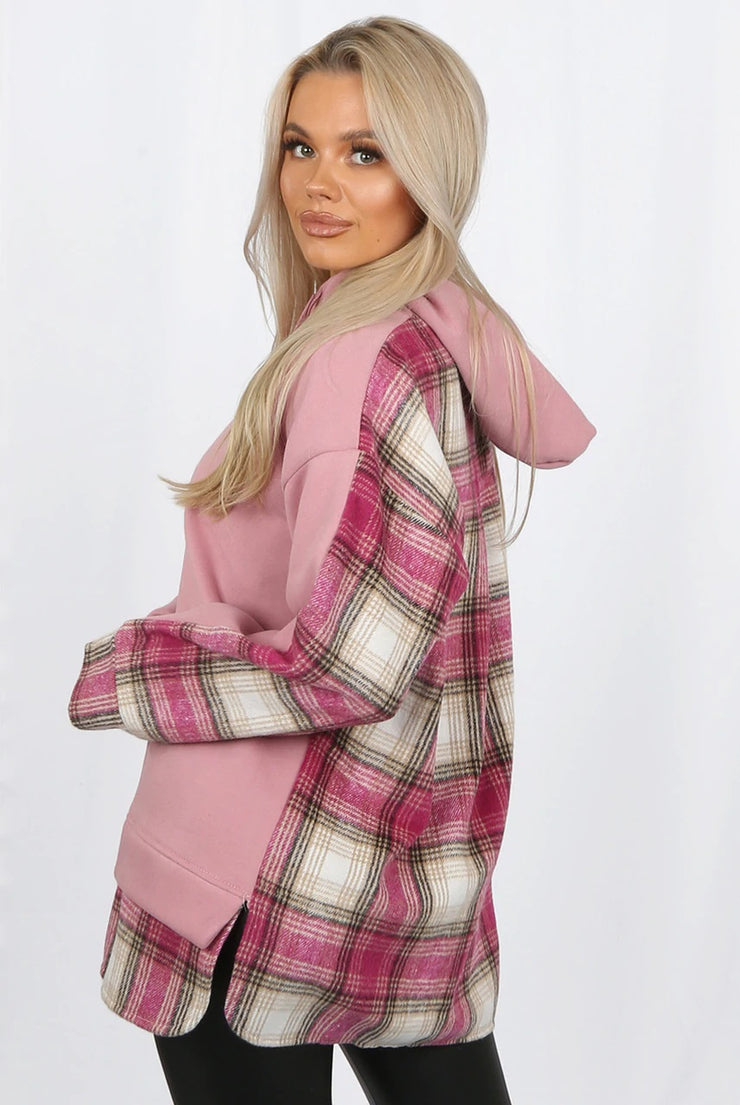 Zola Pink Check Tartan Detailed Hoody