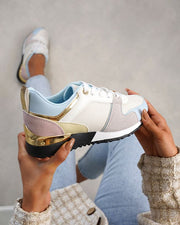 Edele Light Blue Multi Pastel Gold Detail Trainers