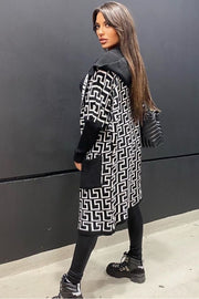 Darcie Black and White Geo Print Hooded Cardigan