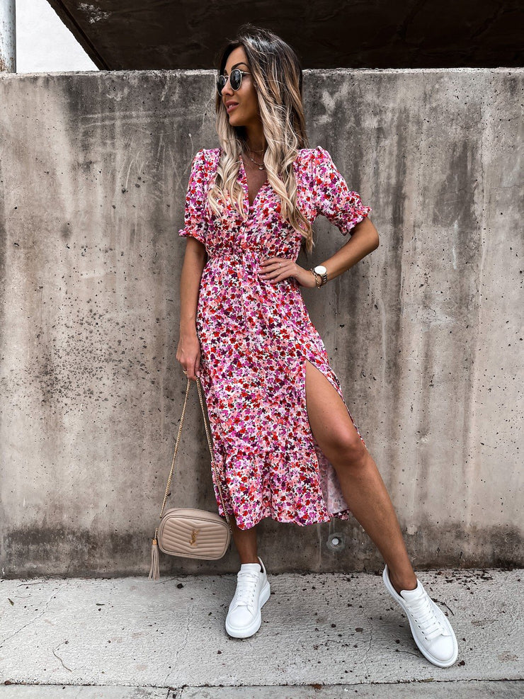 Tanya Pink Multi Floral Print Button Midi Dress