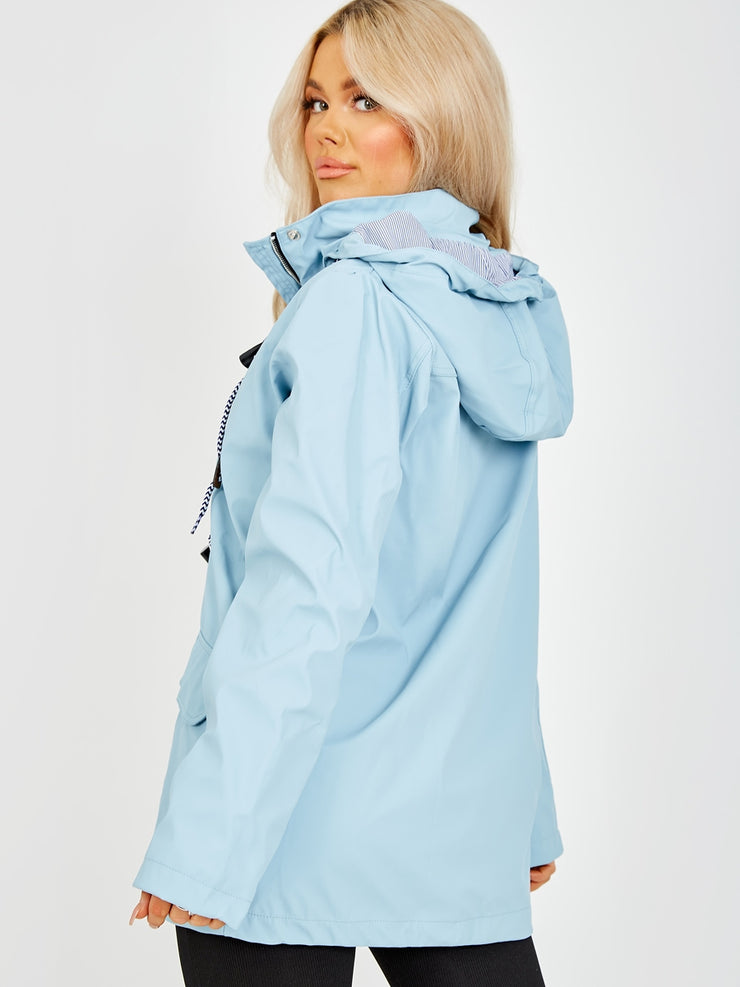 Maddie Powder Blue Rain Mac with Toggles