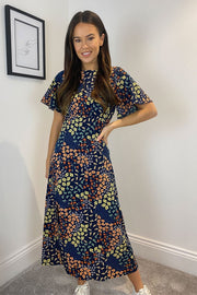 Penny Navy Ditsy Floral Print Midi Dress