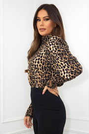 Ruth Animal Print High Neck Puff Sleeve Top