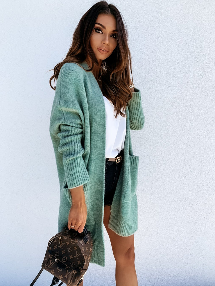 BiBi Soft Green Oversized Cardigan