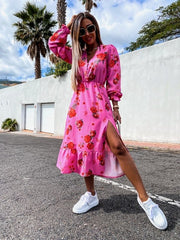 Eden Pink Floral Print Button Midi Dress