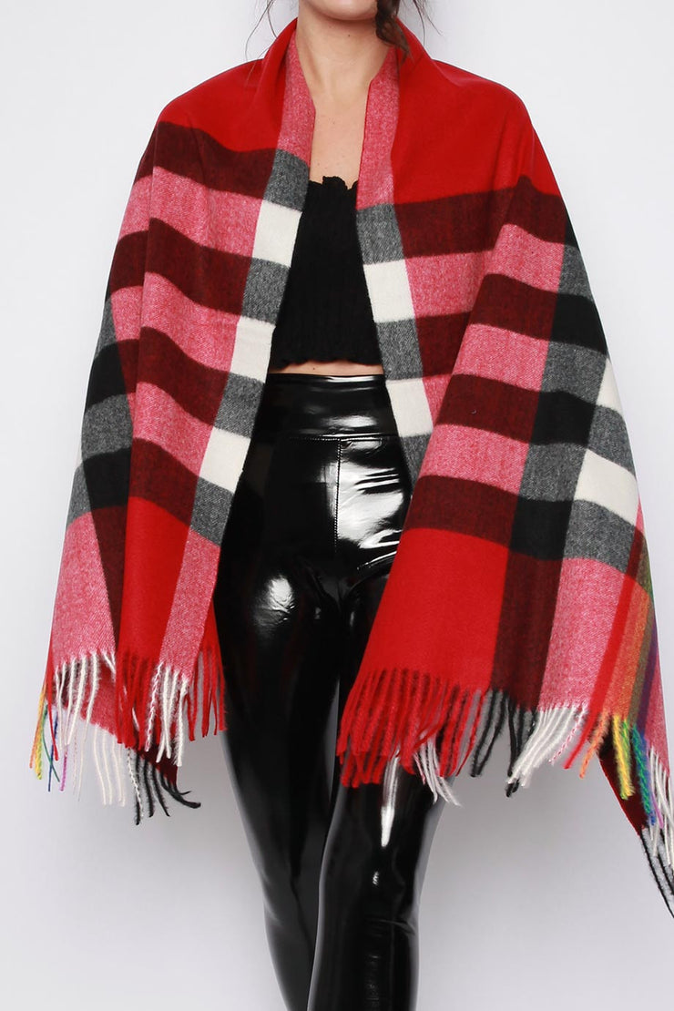 Louise Wine Multi Check Scarf Shawl