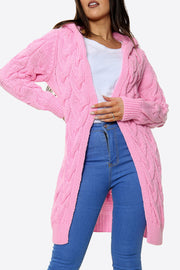 Mena Pink Cable Knit Hooded Cardigan
