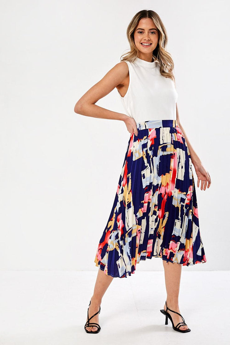 Thelma Navy Geo Print 2 in 1 Midi Dress
