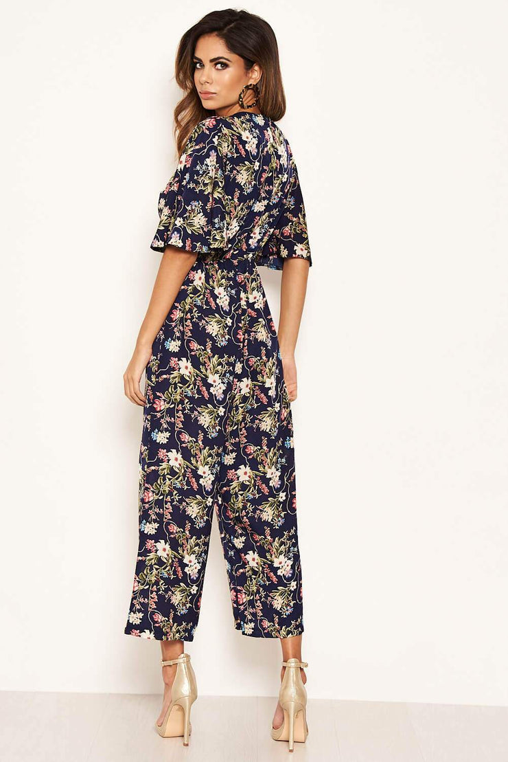 Norma Navy Floral Short Sleeve Jumpsuit