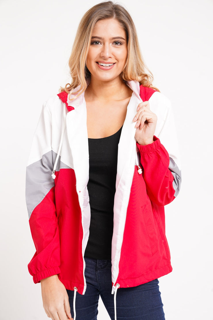 Millie Red Colour Block Lightweight Jacket