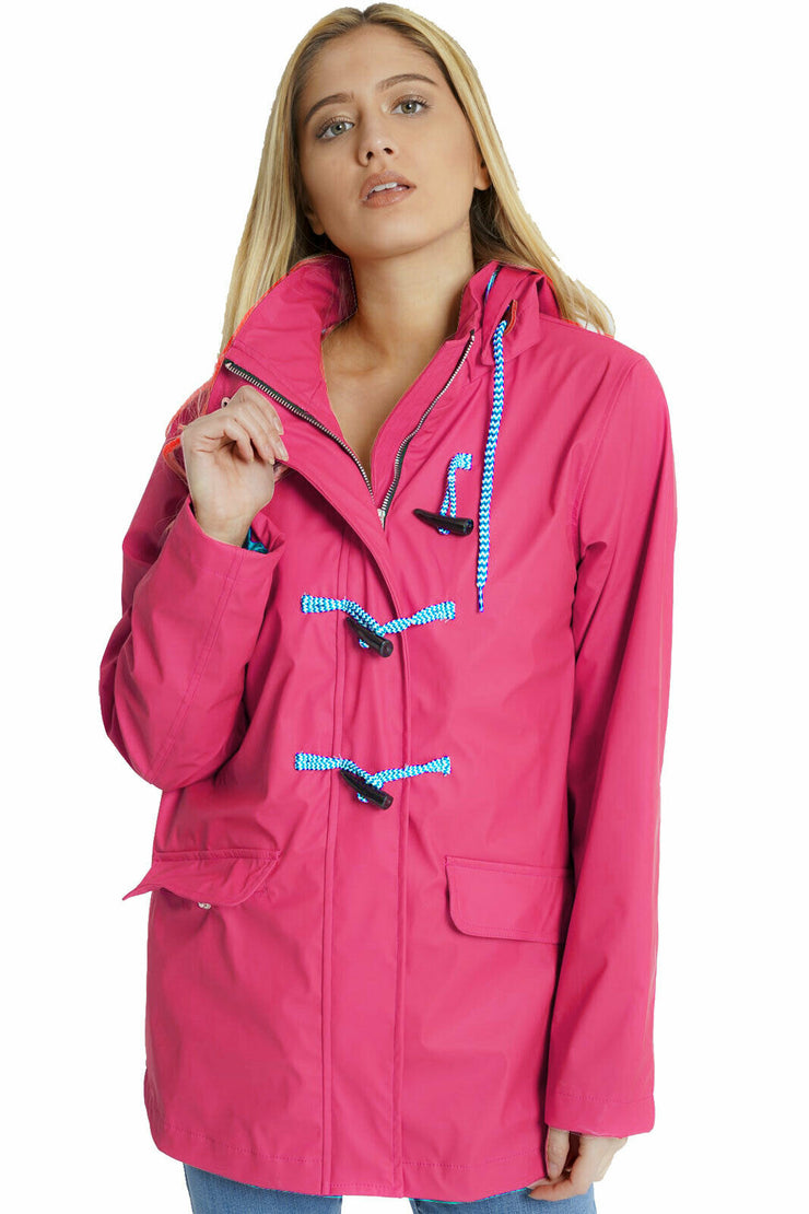 Maddie Fuschia Pink Rain Mac with Toggles