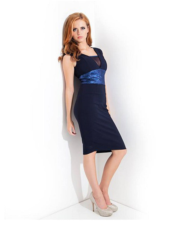 SARA NAVY SEQUIN WAIST PENCIL MIDI DRESS