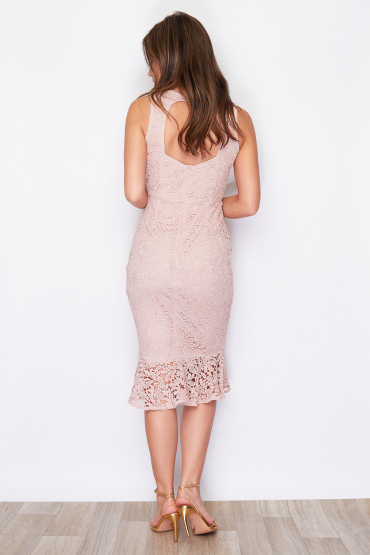 Summer Nude Frill Hem Crochet Midi Dress