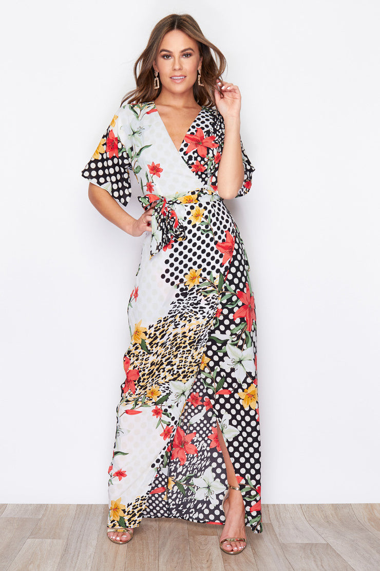 Skylar Floral Multi Print Tie Waist Wrap Dress